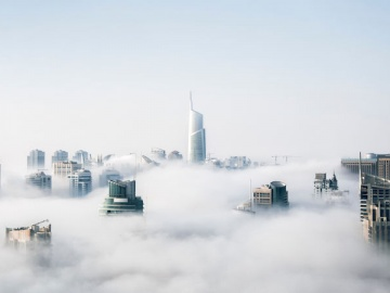 cloud technology business buildings in the clouds
